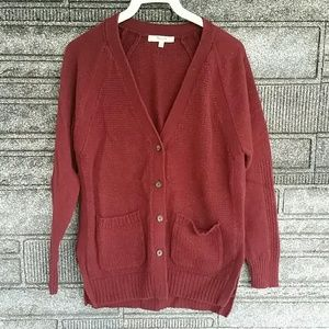 Madewell burgundy grandpa sweater size small